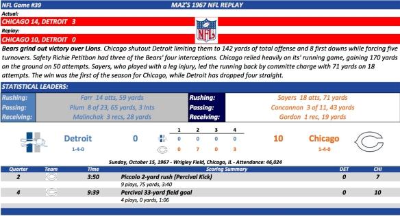 NFL Game #39 Det at Chi