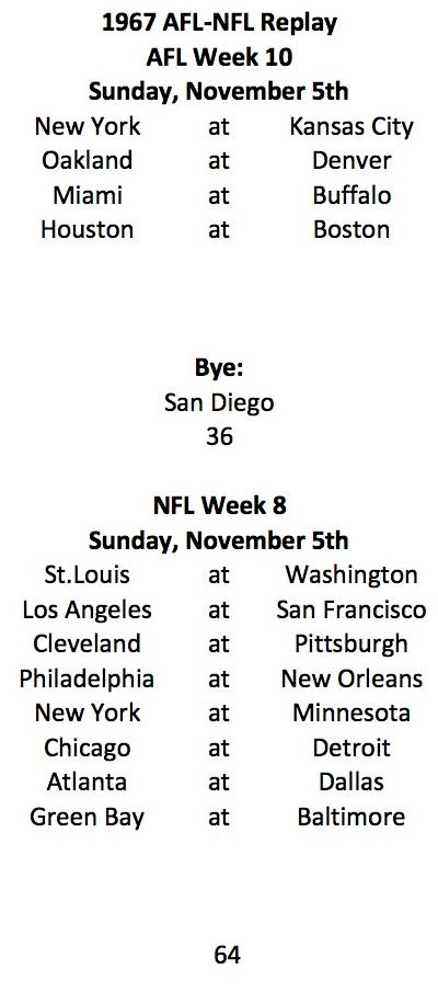 AFL Week 10 NFL Week 8 Schedule