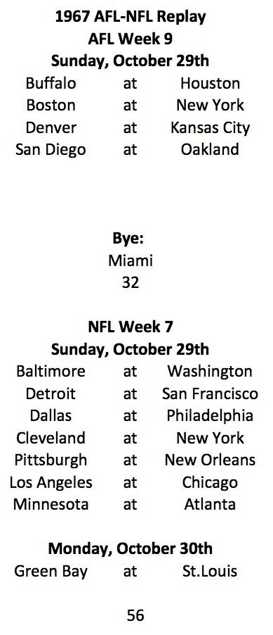 AFL Week 9 NFL Week 7 Schedule