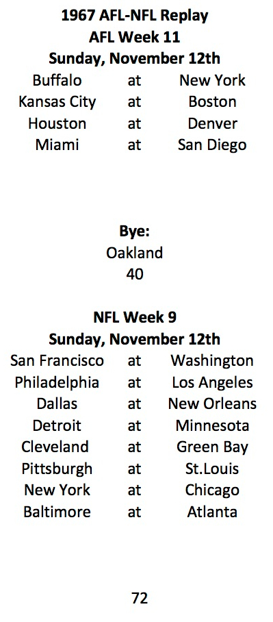 1967 AFL Week 11 NFL Week 9 Schedule
