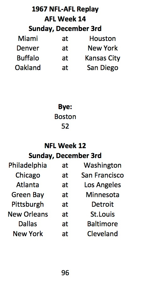 1967 AFL - NFL Upcoming Schedule
