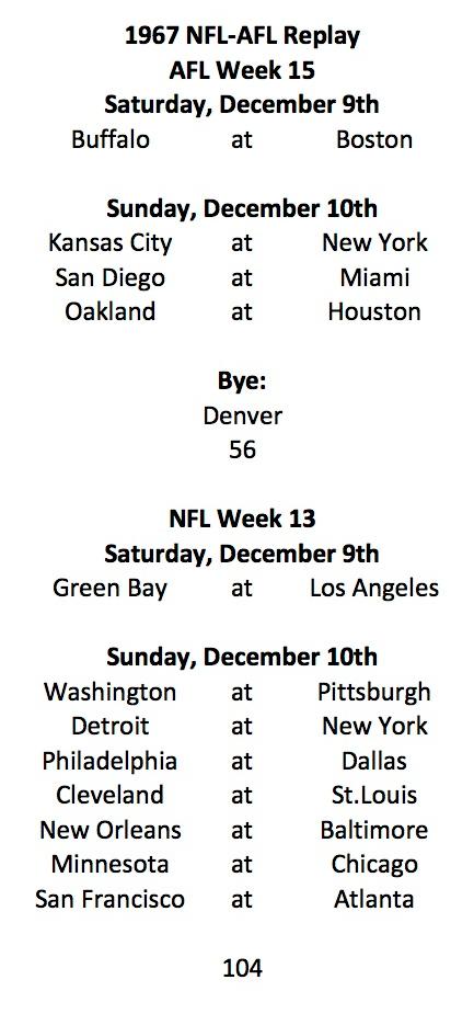 1967 AFL Week 15 NFL Week 13 Schedule