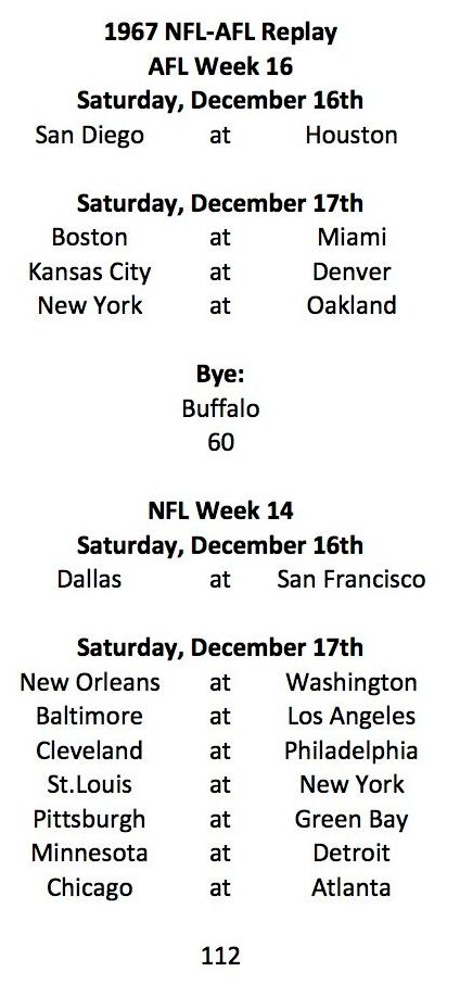 1967 AFL Week 16 NFL Week 14 Schedule