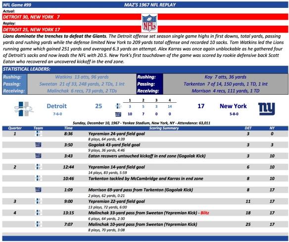 NFL Game #99 Det at NY
