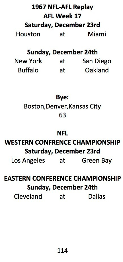 1967 AFL Week 17 NFL Conf Champ Schedule