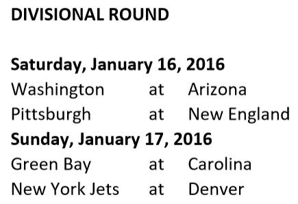 Divisional Round Schedule