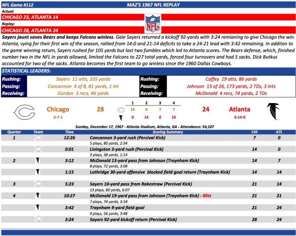NFL Game #112 Chi at Atl