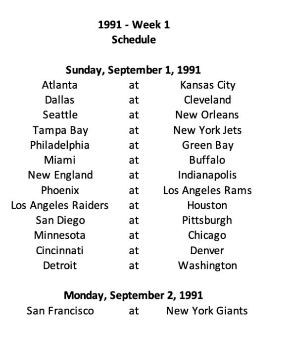 1991 Week 1 Schedule