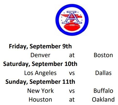 AFL Week 1 Schedule