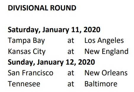 Divisional Schedule