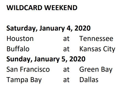 WildCard Schedule