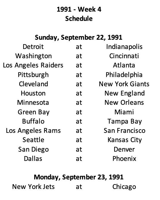 1991 NFL Week 4 Schedule