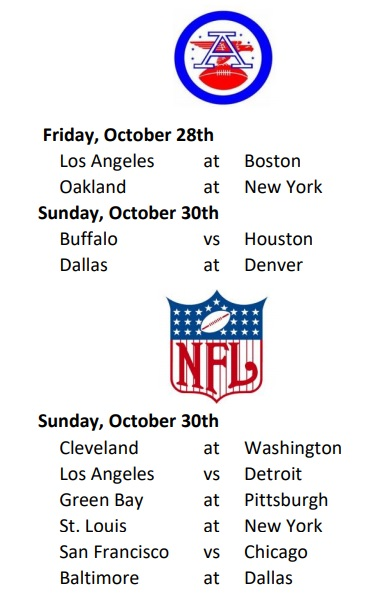 AFL-NFL Weekly Schedule