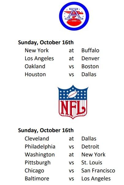 AFL-NFL Weekly Schedule